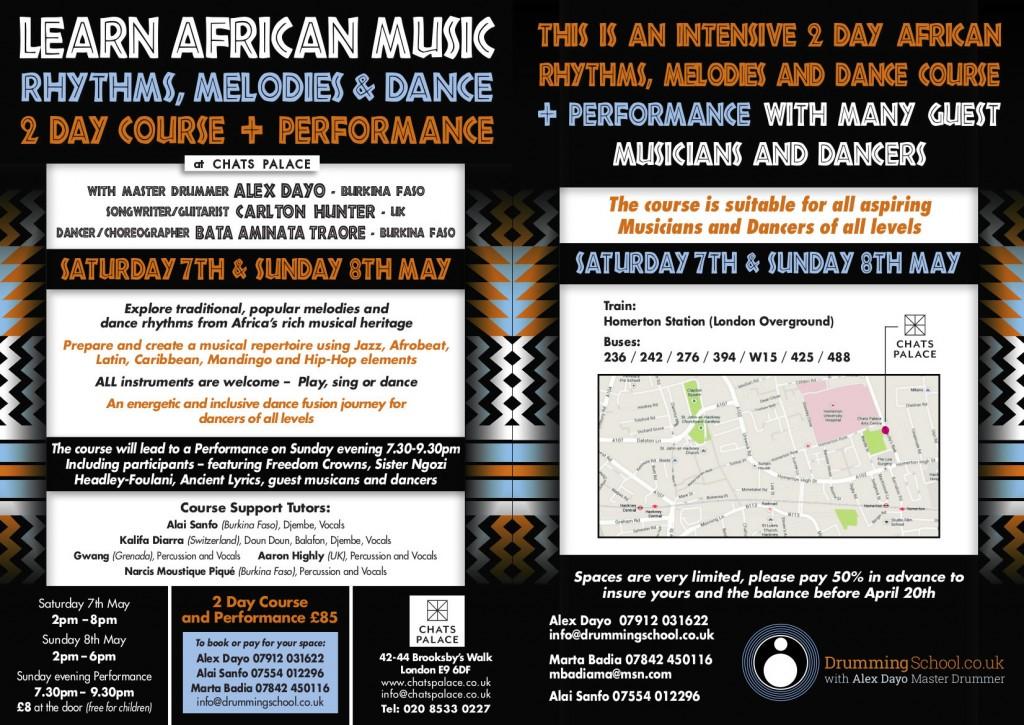 Percussion weekend workshop Finsbury Park flyer